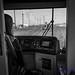 B&W Peeking Ahead to Tilikum Crossing From Portland (PDX) Streetcar