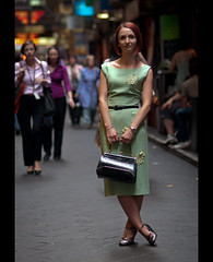 Eszter. Stranger 116 (Andy. H) Tags: street red portrait green haze nikon pretty dress bokeh streetphotography 85mm streetportrait melbourne stranger laneway eszter d90