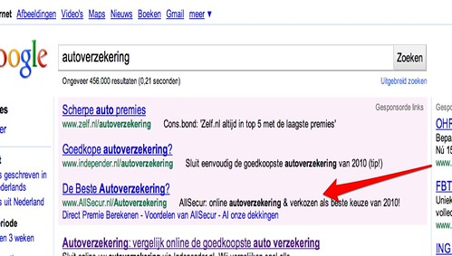 Google AdWords advertentie tekst achter de zichtbare URL