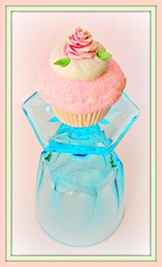 cupcake on vintage aqua glass (Pinks & Needles (used to be Gigi & Big Red)) Tags: roses sculpture rose glitter dessert soft handmade antique girly feminine pastel fake whippedcream sparkle cupcake faux sparkly frosting sculpted frosted pretend inedible shabbychic lookbutdonttouch vintageinspired gigiminor pinksandneedles aquaandpink vicortian lookbutdonteat