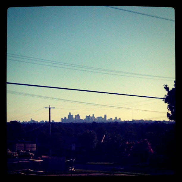 Home at last - the view of the city I left from at the end of my working day. I heart Melbourne.