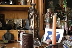 candlesticks under stress (omoo) Tags: newyorkcity art interiors apartment westvillage altar angels antiques meditation collectibles greenwichvillage candlesticks privatealtar stressedangels angelcandlesticks