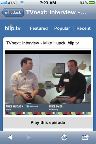 TVnext iPhone screenshot: Mike Hudack Interview