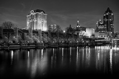Night and the City #4 (johndecember) Tags: city blackandwhite usa home monochrome skyline wisconsin night river march spring downtown gallery album milwaukee condos hdr 2010 mke fused milwaukeeriver easttown photomatixpro nightandthecity photoscape fusedhdr eastsidenorthofhighland