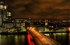 London Roof (Anthony Mckenzie) Tags: street city longexposure travel bridge roof red sky orange green london rooftop thames night river lights town high cityscape midnight lamps shard offices urbex