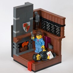 Mrs. Peacock (ted @ndes) Tags: game lego board system study shield minifig revolver vignette clue cluedo moc 8x8 mrspeacock legovignette mrboddy drblack murderousminifigcompetition