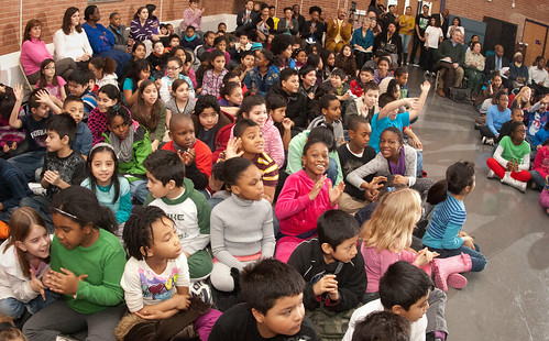 The students and faculty applaud as Agriculture Under Secretary for Food, Nutrition and Consumer Services Kevin W. Concannon  stepped up to the podium to present the Gold Award of Distinction to the Elsie Whitlow Stokes Community Freedom Public Charter School, on Wednesday, Feb. 2, 2011.  The school is the first Washington, D.C. to achieve the gold Award of Distinction from the HealthierUS School Challenge (HUSSC).  They will now hold the certification and distinction for four years. The goal of the HUSSC is to improve the health of the Nation's children by promoting healthier school environments. The challenge criteria include four major elements. (U.S. Department of Agriculture photo by Lance Cheung)
