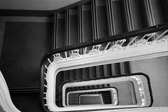 All the way down (tootdood) Tags: blackandwhite geotagged spiral stair canon20d steps well bannister geo:lat=53482895 geo:lon=224621