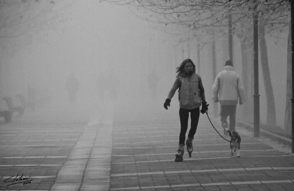 skating in the fog