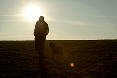 A man and his dog (anna pozzi) Tags: light shadow dog sun man cane walking pair ombra uomo bond sole controluce legame thelittledoglaughed