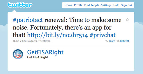 #patriotact renewal: Time to make some noise. Fortunately, there's an app for that!