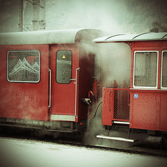 Nostalgic Journey - Steam (pesom) Tags: winter red cold fog train canon square wagon 500v20f sigma steam nostalgic eos350d zillertal bsquare 1000v40f magicunicornverybest