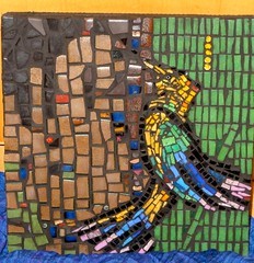 Feathers (WinterCreek Mosaics) Tags: tree bird glass ceramic feathers bark tropics smalti milliefiori