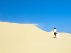 Sandboarding (akhaang) Tags: new hot beach wales port newcastle sand desert sandboarding south dune samsung australia stephens stockton boarding ex1 tl500