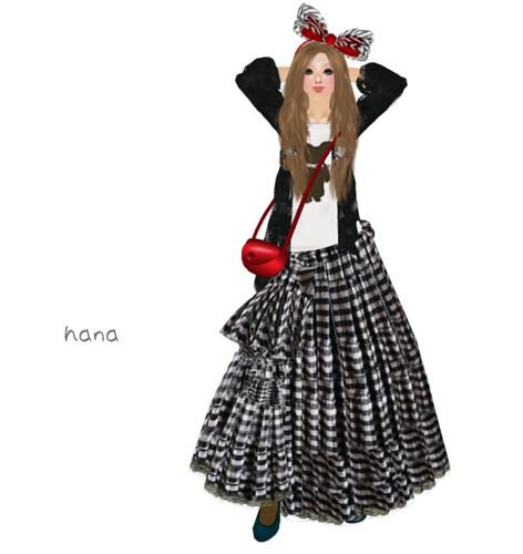 .:: M*G*S ::. Long Skirt Check Black