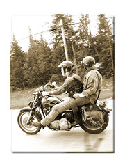 Flying On Down The Highway (Mel ( RiderBlues )) Tags: friends bike sepia photoshop freedom highway riding motorcycle biker openroad sportster sporty abate oldpaper