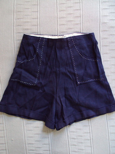 High Waisted Vintage Navy Shorts with Pockets and Back Zipper
