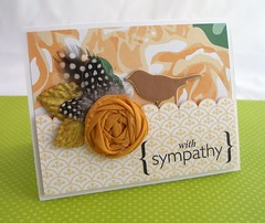 With Sympathy Card (Tessa Buys) Tags: bird handmade feather note card stationery americancrafts fabricflower srmstickers