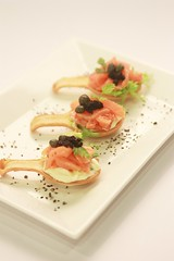 Canapes - Smoked Salmon with Tobiko