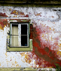 You've got red on you (steverichard) Tags: old red white house building abandoned portugal broken window glass stain wall ventana photo casa wooden europe peeling paint image time decay render character painted plaster structure age frame shutter weathered pt damaged derelict fenetre crumbling iberia abrantes abrokenframe steverichard srichardimages