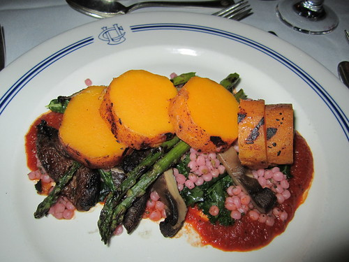 Butternut Squash with Asparagus, Mushrooms, Kale, Israeli Couscous and Tomato Sauce