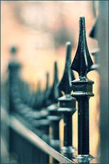 And somewhere, far from here, fences disappear (kholkute) Tags: vintage fence dof bokeh spears walls borders separation shallowdepthoffield fadeaway prasadkholkute