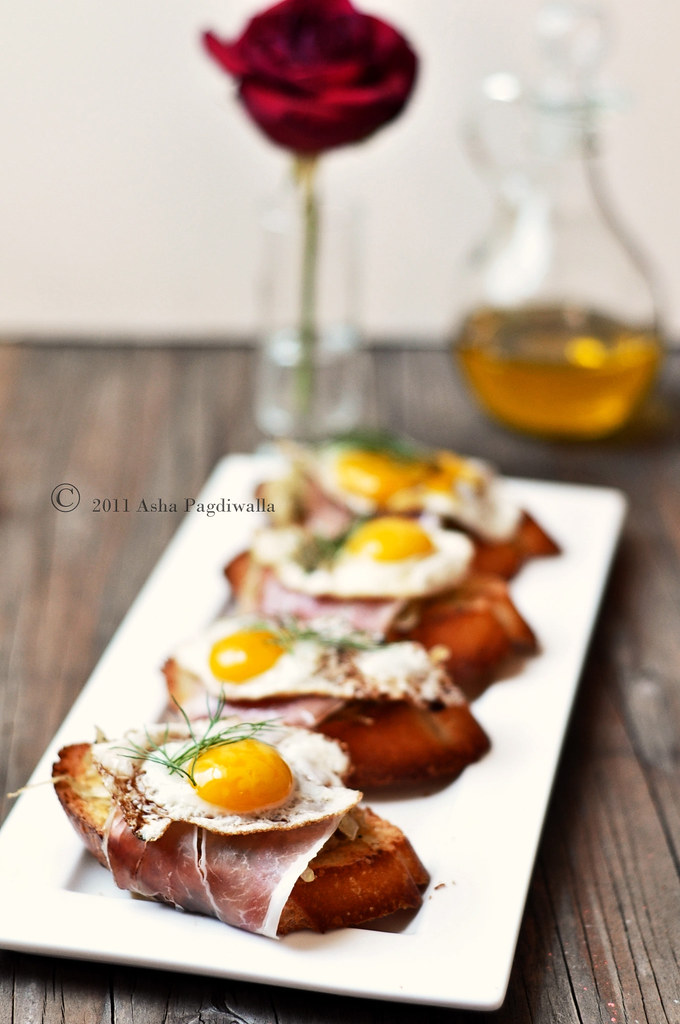 eggs, ham, fennel bruschetta