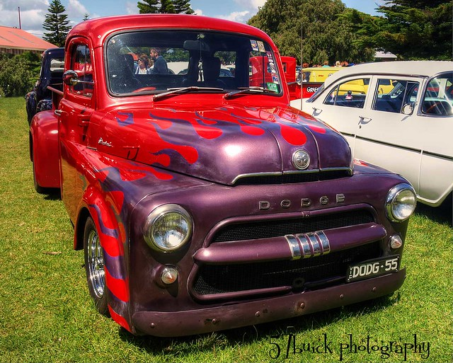 cars 1955 flames 1950s 1960s autos hdr classiccars carshow hotrods customs queenscliff flamed kustomkulture leadsleds worldcars 1955dodgepickup geelongstreetroddersclub queenscliffrodrun2011