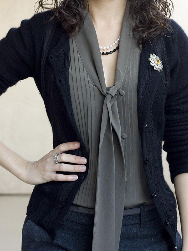 Ann Taylor Petite Silk Necktie Shell & Ring