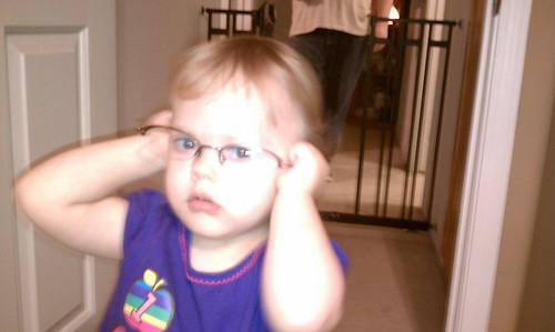 Wearing Mama's glasses