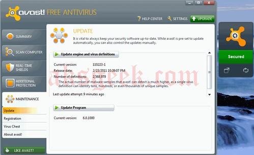 avast antivirus 6.0 with sidebar gadget