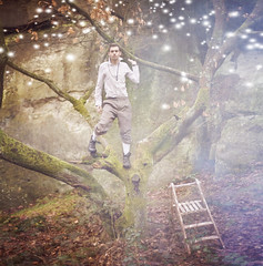 Lights (Kera Robson) Tags: from trees colour male guy green up set canon vintage woodland dark james weird model view you photos edited or gorgeous hunk manipulation scene story fairy ethereal johnny 5d everyone ladder depp wonderland simpson tale fit lookalike