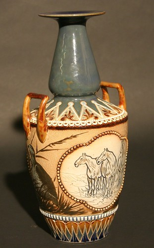 A Doulton Lambeth vase, decorated by the sisters Florence and Hannah Barlow (£300 to £500)