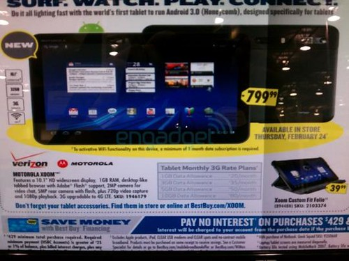 MOTOROLA XOOM HONEYCOMB TABLET PRICE $799 (VERIZON)