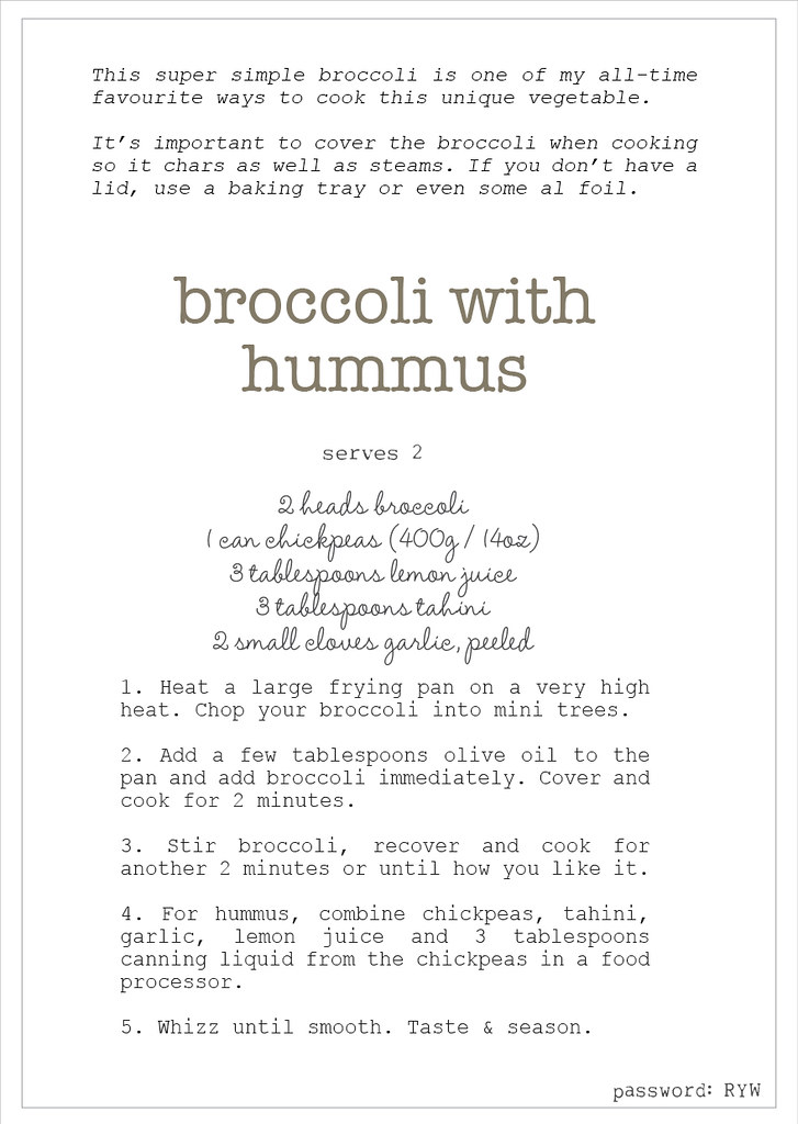 w2 broccoli with hummus recipe