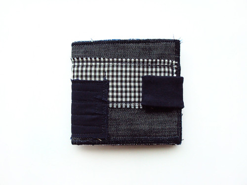 Navy Squares and Pleats on dark Navy Denim Wallet