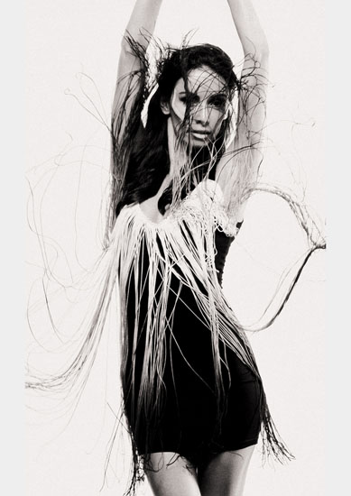 Long fringe dress, Shine By Three, Tribal Editorial Fashion Shoot - Photography by Kent Johnson.