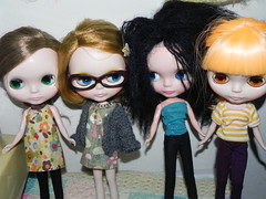 My dolls, less one who is getting a makeover
