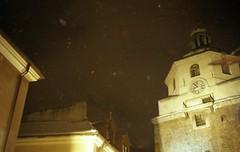 snowfall (*alicja*) Tags: winter snow color film 35mm poland polska canonae1program christmastime lublin wieza ilikeit 2011 brama snieg bramakrakowska