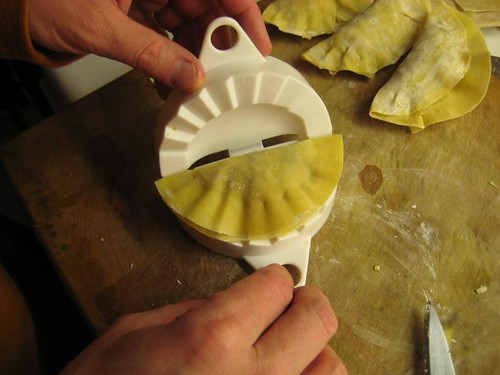 Molding gyoza with our special kitchen tool