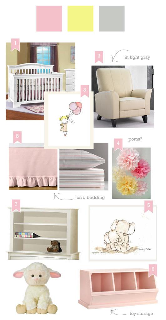 Pink, Gray and Yellow Nursery Inspiration