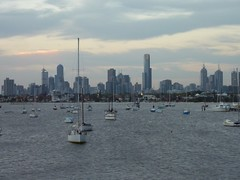 Skyline and Harbor (simpsora) Tags: sunset building water skyline clouds boat cloudy australia melbourne