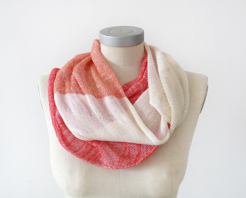 viscose cotton spring scarf -red peach cream