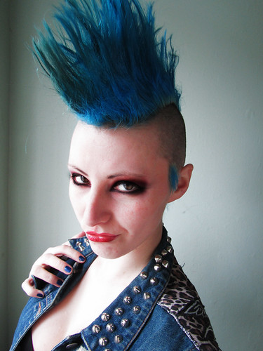 march 05 -- mohawk punk selfportrait bluehair model hair march