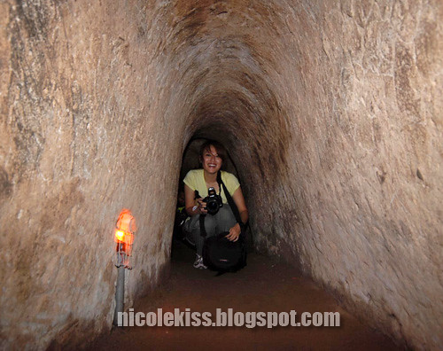 me in tiny cu chi tunnel