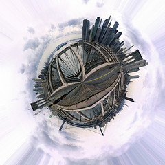 Planet Brooklyn Bridge (jankor) Tags: panorama geotagged 360 planet stitched 360 360degree littleplanet 360grad geo:lon=73996852 planetepanoramique geo:lat=40705945