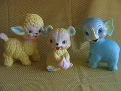 Squeeze Baby toys (Retro Mama69) Tags: vintagetoys retrotoys childhoodtoys rubbertoys juguetesnrfb squeezebabytoys toysmintcondition nrfbtoys dimestoretoys toysinpackage toysmadeinchina toysmadeinjapan
