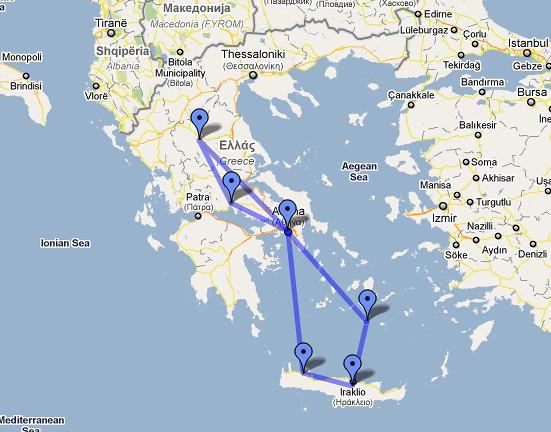 Roteiro Grécia - Mapa