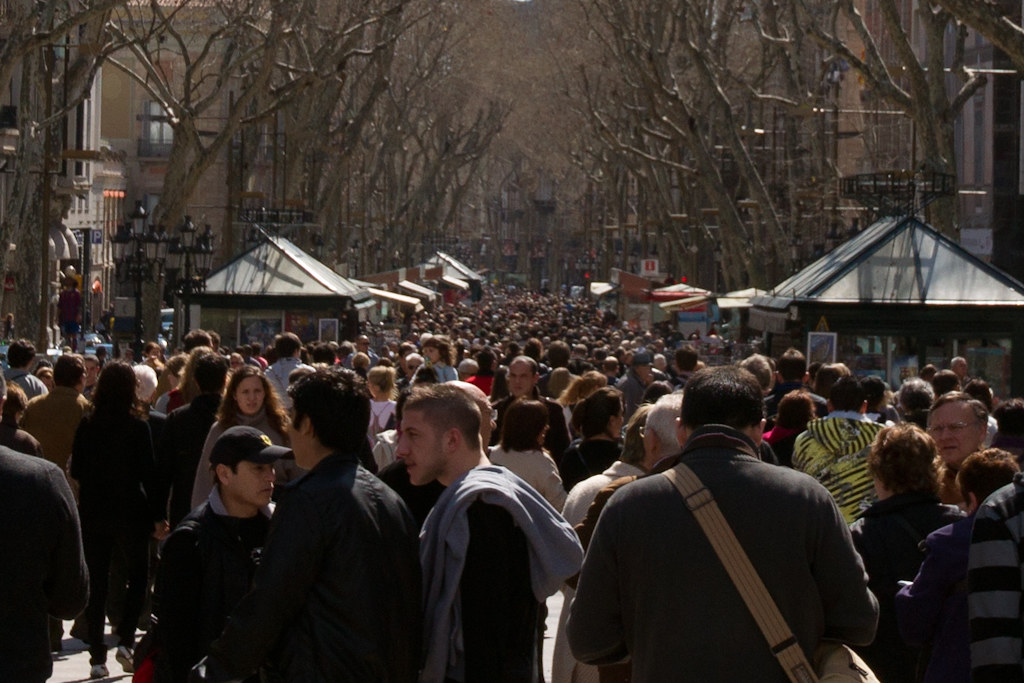 Crowds On La Rambla