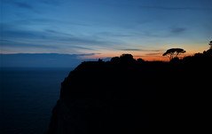 Paesaggio al Tramonto (TheFella) Tags: travel blue sunset red sky italy cliff sun seascape tree slr silhouette clouds digital canon landscape eos photo seaside europe italia photograph processing napoli naples dslr 500d posillipo capeposillipo twtmefm twtmews